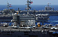 USS Ronald Reagan (CVN 76), USS Kitty Hawk (CV 63), and USS Abraham Lincoln (CVN 72) cruise side-by-side in the Philippine Sea June 18, 2006, during exercise Valiant Shield 2006 060618-N-HX866-001.jpg