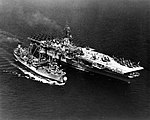 USS Severn (AO-61) refuels USS Hornet (CVA-12) in the Atlantic in May 1954.jpg