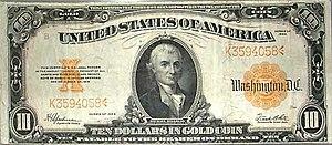Michael Hillegas - 1907 $10 gold certificate featuring Hillegas's portrait.