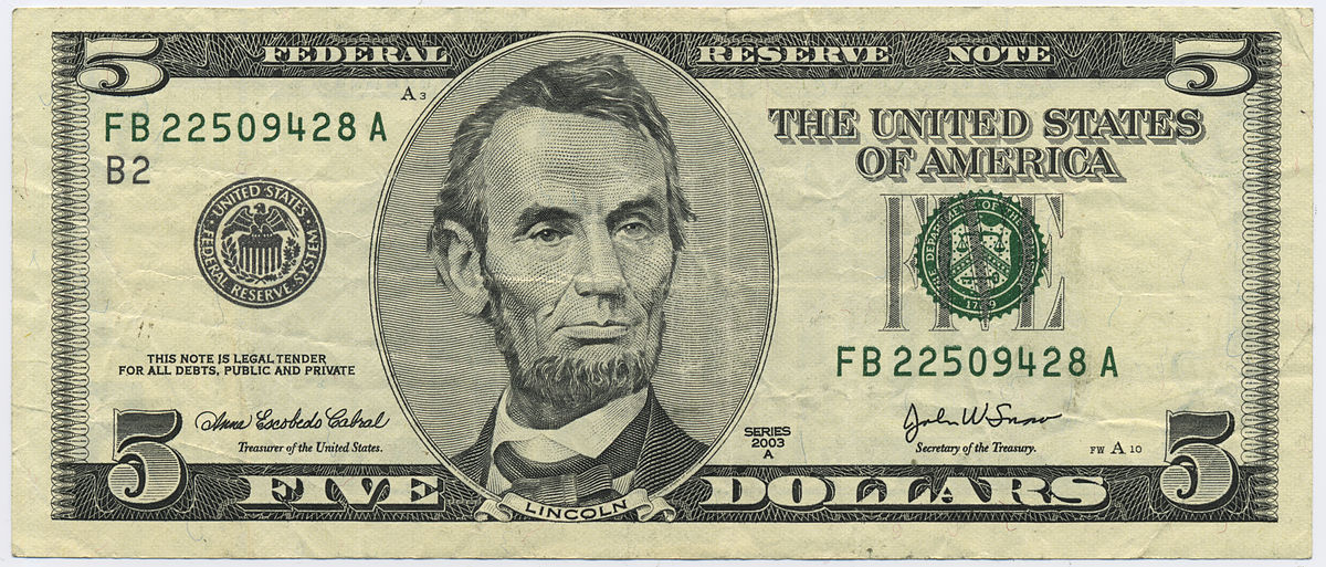 United States Currency5 Bill Wikiversity