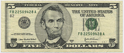 Image result for 5 dollar bill images