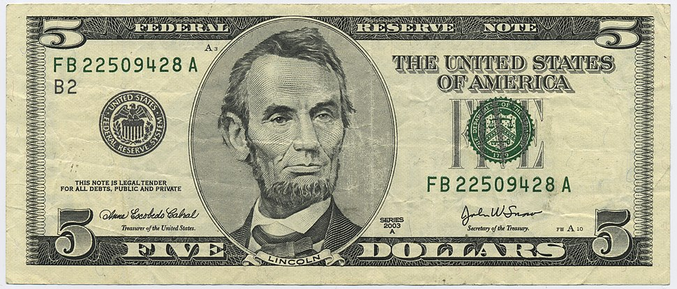 US $5 series 2003A obverse