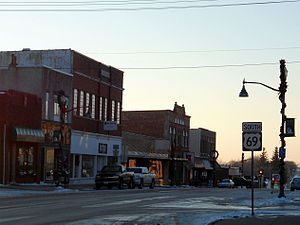 U.S. Route 69 - US 69 runs south in Lake Mills, Iowa