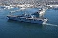 "US Navy 030117-N-2069B-008 Sailors aboard USS Bonhomme Richard (LHD 6) ""man the rails"" as the amphibious assault ship heads to sea.jpg"