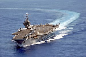 US Navy 030608-N-3241H-043 USS Carl Vinson (CVN 70) turns into the wind at the beginning of flight operations.jpg