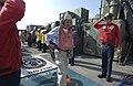 US Navy 031128-N-6939M-036 The Secretary of the Navy, the Honorable Gordon R. England salutes Rainbow Sideboys.jpg