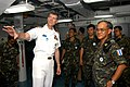 US Navy 050226-N-9860Y-005 Commanding Officer, USS Blue Ridge (LCC 19), Capt. J. Stephen Maynard, describes the ship's combat effectiveness to Royal Thai Army Chief of Staff, Gen. Lertrat Rattavanich, while on a tour of Blue Ri.jpg
