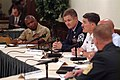 US Navy 050720-N-0962S-189 Master Chief Petty Officer of the Navy (MCPON) Terry Scott, along with his senior enlisted counterparts of the Air Force, Army, Coast Guard, and Marines, testifies before the Defense Advisory Committee.jpg