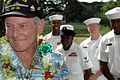 US Navy 051213-N-3019M-002 Pearl Harbor survivor Woody Derby, stationed aboard the battleship USS Nevada (BB 36) during the Dec. 7, 1941 attack, recounts his experiences to Sailors.jpg