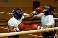 US Navy 071117-N-5275S-178 Machinery Repairman Fireman Mike Hal throws a left hook at Damage Controlman Fireman Thomas Dooley during try outs for the All-Navy Boxing Team.jpg
