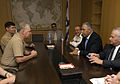 US Navy 080623-N-8273J-065 Chief of Naval Operations (CNO) Adm. Gary Roughead, left, meets General Ministry of Defense, Mr. Pinchas Burchris, center right, and other senior leadership in the Israel military in Tel Aviv, Israel.jpg