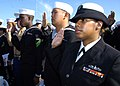 US Navy 081111-N-3925A-006 ailors and Marines take the oath of allegiance during a naturalization ceremony aboard the aircraft carrier USS Midway Museum in San Diego Bay. Secretary of Homeland Security the Hon. Michael Chertoff.jpg