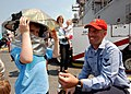 US Navy 090523-N-7680E-060 Aviation Boatswain's Mate (Handling) 3rd Class Robert Broomfield demonstrates aircraft crash and salvage equipment to visitors aboard the multi-purpose amphibious assault ship USS Iwo Jima (LHD 7).jpg