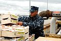 US Navy 100218-N-3358S-078 Chief Hospital Corpsman Jolando Lightner inspects fruit before the crew moves pallets of frozen food, fresh produce and other supplies aboard USS Mesa Verde (LPD 19).jpg