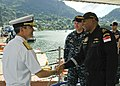 US Navy 100326-N-0000U-001 Vice Adm. Harry B. Harris Jr. shakes hands with Republic of Singapore navy Rear Adm. Bernard Miranda.jpg