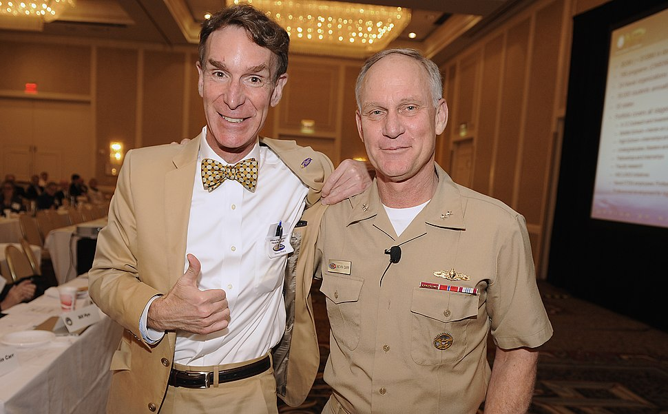 US Navy 110505-N-PO203-205 Bill Nye stands with the Chief of Naval Research Rear. Adm. Nevin Carr following the presentation of a powered by Naval