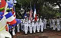 US Navy 110704-N-AG285-181 The color guard from the amphibious dock landing ship USS Whidbey Island (LSD 41) stands at attention during a memorial.jpg