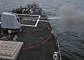 US Navy 110925-N-ZF681-209 The MK-45 5 inch-54-caliber lightweight gun of the guided-missile destroyer USS Halsey (DDG 97) is fired during a live-f.jpg