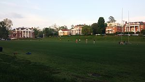 Rugby Road - Madison Bowl at the University of Virginia, surrounded by several Greek houses. From left to right: Phi Kappa Psi, Sigma Alpha Epsilon, St. Anthony Hall, Sigma Phi Epsilon (now inactive), Zeta Tau Alpha, and St. Elmo Hall.