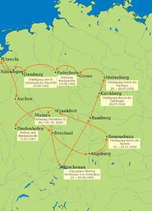 German royal election, 1002 - Course of the royal progress