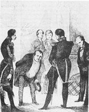 Der gichtleidende Tieck verbeugt sich vor dem preußischen König. Karikatur aus Ungern-Sternbergs satirischem Roman Tutu (1848) (Quelle: Wikimedia)