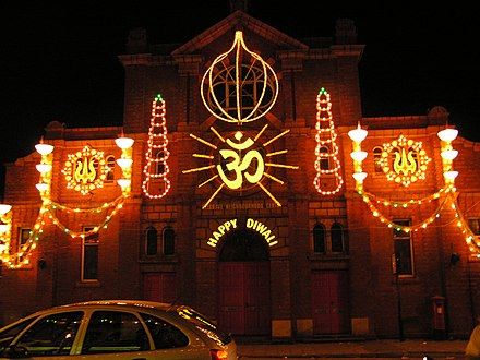 Diwali decorations in Leicester, United Kingdom.[68] - Diwali