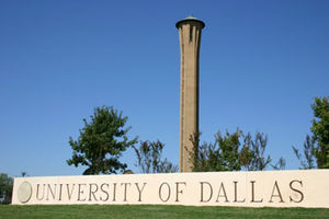 University of Dallas campus sign