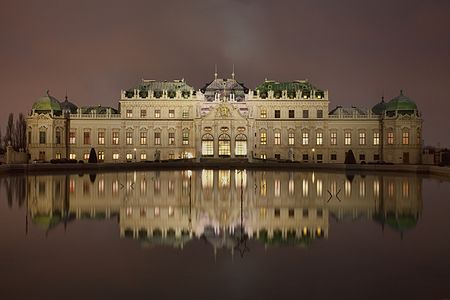 Night photograph of the Upper Belvedere palace in Vienna, Austria.