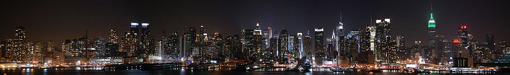 Skyline of Upper Manhattan and Midtown Manhattan as seen from Jersey City