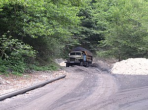 Tkvarcheli District - Coal is transported via pipeline (to the left) and trucks from the mines in Tkvarcheli district