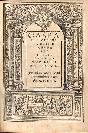 Kaspar Ursinus Velius - Title page from a book of 1522.