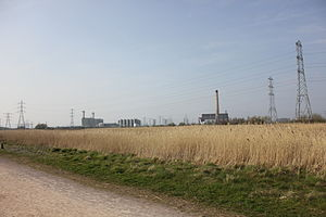 Uskmouth power stations - View of the power station from Newport Wetlands Reserve