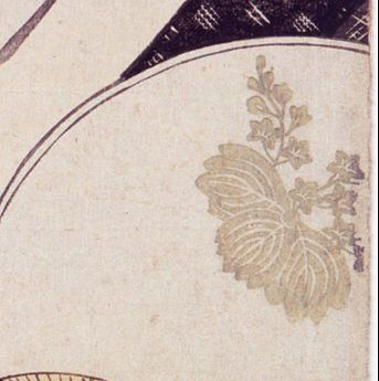 Close-up of a leafy crest on a hand fan