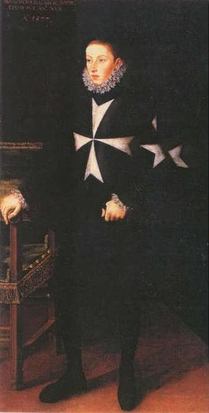 Archduke Wenceslaus of Austria - Portrait of Archduke Wenceslaus as Grand Prior of the Order of Malta, by Alonso Sanchez Coello, 1577.