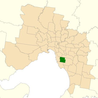 Electoral district of Bentleigh - Location of Bentleigh (dark green) in Greater Melbourne