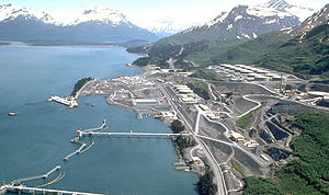 Valdez, Alaska - Aerial view of the oil terminal