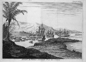 Pánuco River - Pánuco River, a.k.a. Río de Canoas. Copper-plate engraving from Dutch artist Jan Karel Donatus van Beecq.