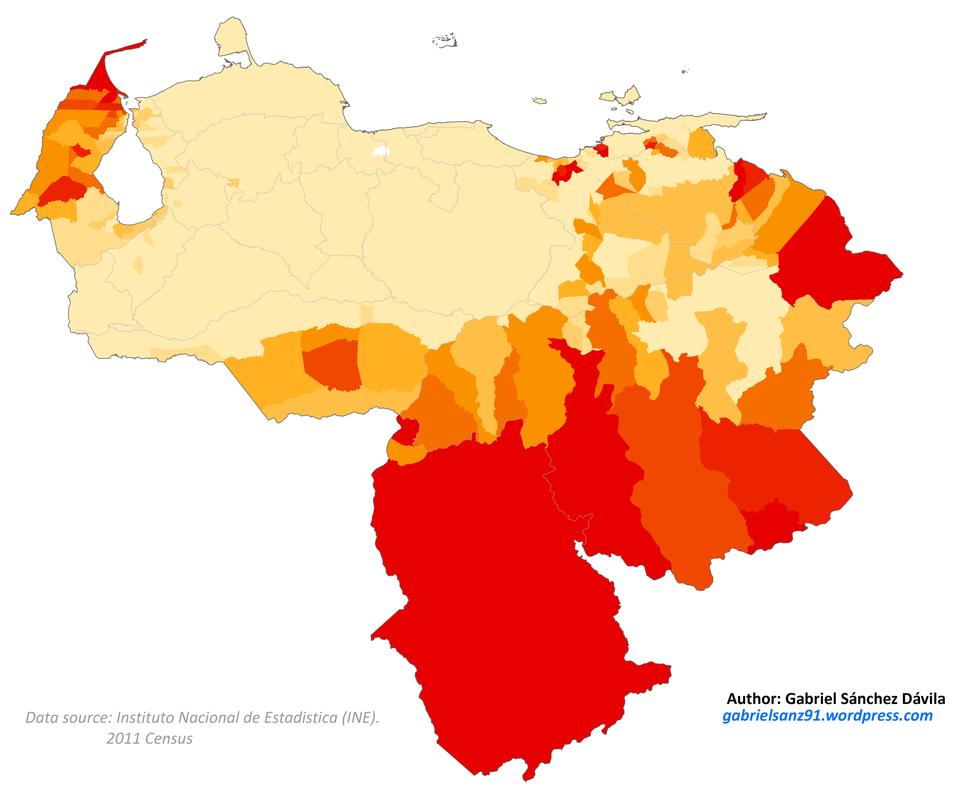 Venezuela 2011 Ameridian population proportion map