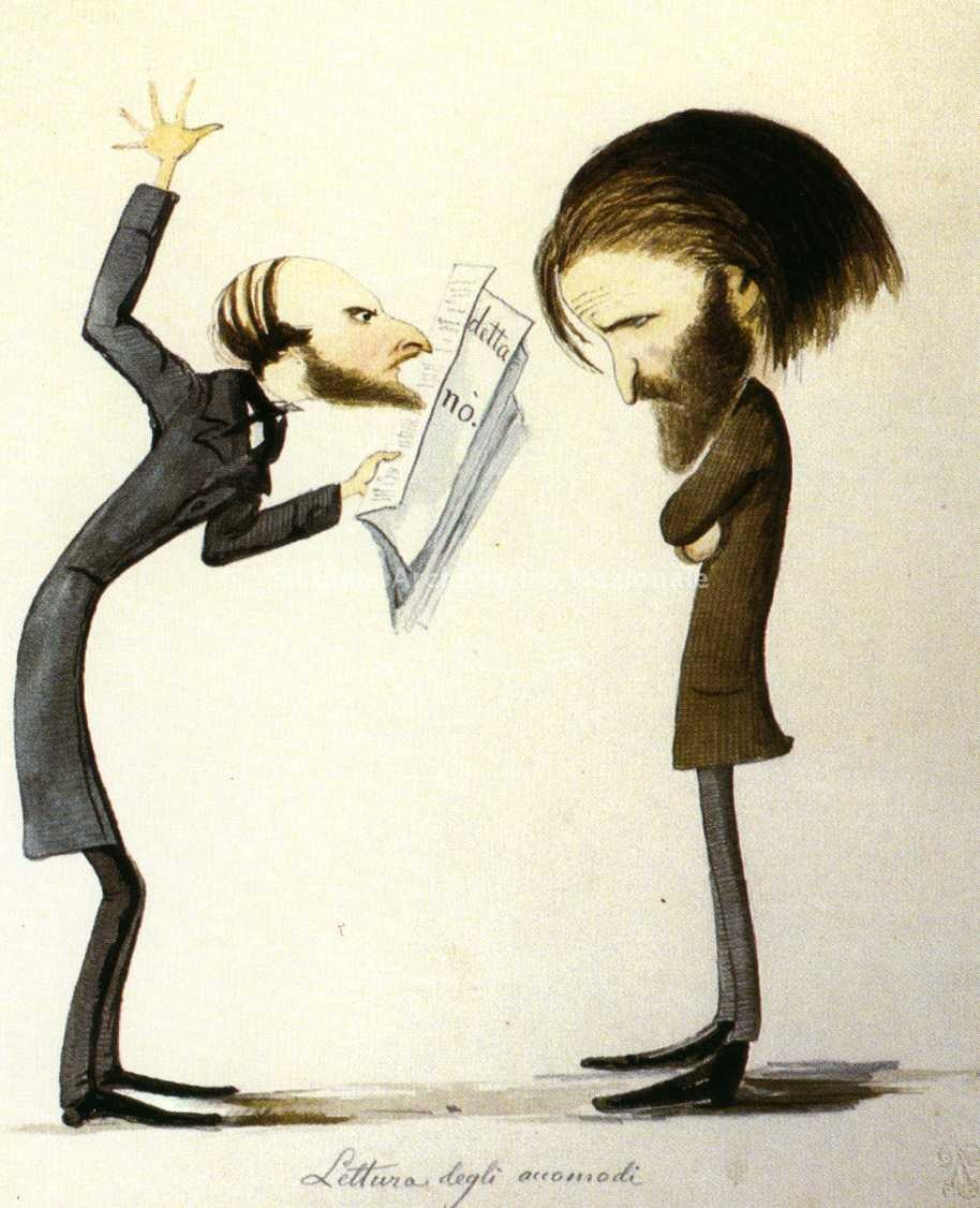 Verdi and Naples censor-caricature by Delfico