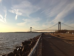 View northwest at the Verrazano-Narrows Bridge, as seen from Brooklyn during sunset