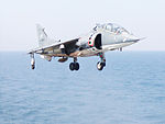 Vertical take off by an Indian Navy Sea Harrier (close-up).jpg