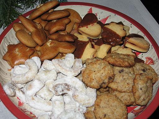 Christmas pastries - nut cookies, gingerbread cookies, liner pastries, vanilla rolls