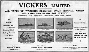 Vickers - 1914 advertisement in Jane's presenting Vickers broad naval capabilities