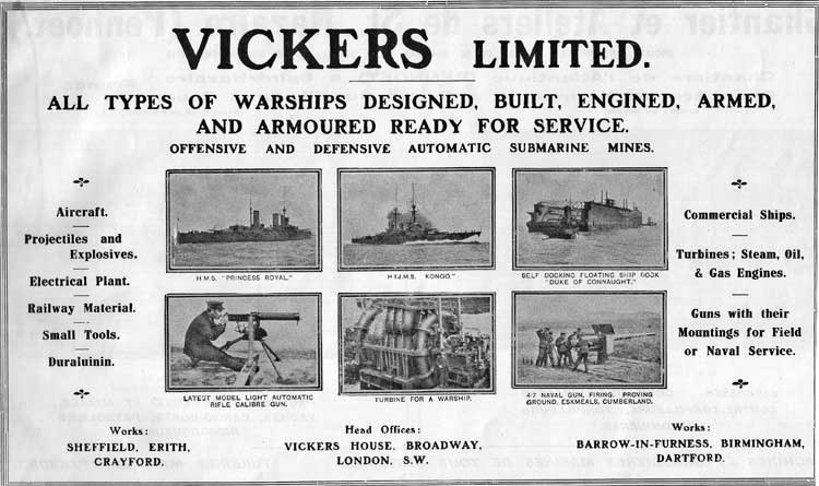 Vickers Advertisement Janes 1914