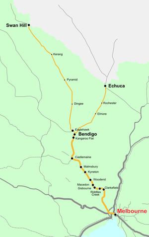 Deniliquin railway line - Image: Vicrailmap bendigo