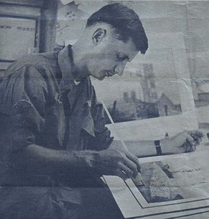 """Combat artist Spec. 4 David Fairrington puts the final touches on a painting before it is shipped to the U.S. Army's Center for Military History, 1968"""