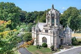 View of Greenwood Cemetery Chapel from the hill