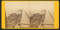 View of piles for jetty taken from the pile driver, showing Port Eads in the distance, by Theodore Lilienthal.jpg