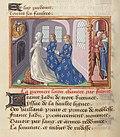 Vigiles de Charles VII, fol. 35v, Allégorie, Dame France priant.jpg
