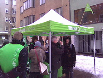 Green League - An election canvassing tent for the Greens on Iso Roobertinkatu in Helsinki.